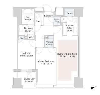 セントラルパークタワー・ラ・トゥール新宿 17階 2LDK 417,100円〜442,900円の写真1-slider