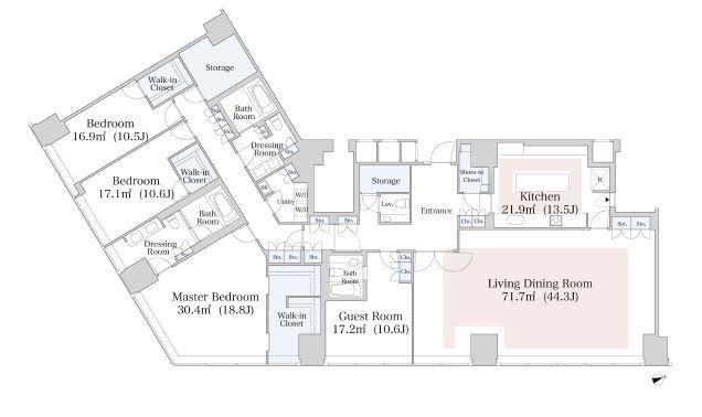 セントラルパークタワー・ラ・トゥール新宿 43階 4LDK 2,027,300円〜2,152,700円の写真1-slider