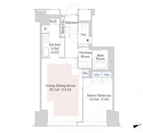 セントラルパークタワー・ラ・トゥール新宿 32階 1LDK 360,000円の写真1-slider