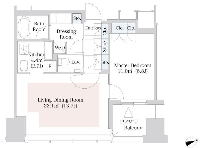 セントラルパークタワー・ラ・トゥール新宿 24階 1LDK 304,580円〜323,420円の写真1-slider