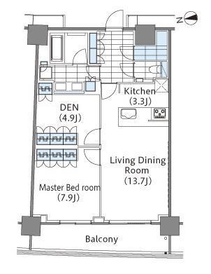 コンフォリア新宿イーストサイドタワー 5階 1LDK 357,000円の写真1-slider