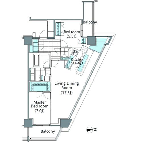 コンフォリア新宿イーストサイドタワー 5階 2LDK 439,000円の写真1-slider