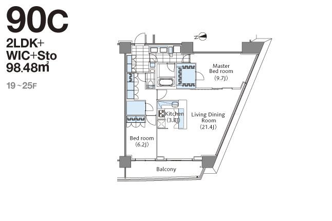 コンフォリア新宿イーストサイドタワー 21階 2LDK 577,150円〜612,850円の写真1-slider