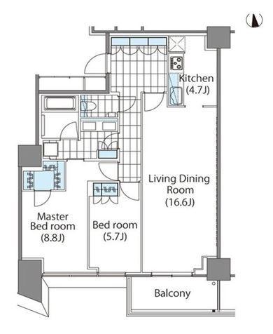 コンフォリア新宿イーストサイドタワー 17階 2LDK 444,260円〜471,740円の写真1-slider
