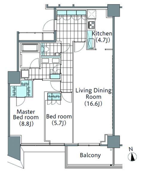 コンフォリア新宿イーストサイドタワー 22階 2LDK 455,900円〜484,100円の写真1-slider