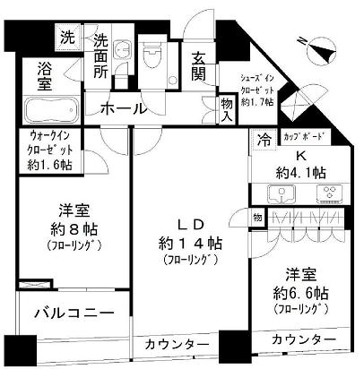 パークコート赤坂ザ・タワー 32階 2LDK 450,000円の写真1-slider