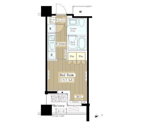 六本木エムケーアートレジデンス 4階 1K 146,000円の写真1-slider