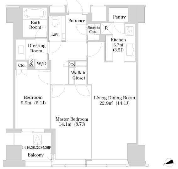 セントラルパークタワー・ラ・トゥール新宿 20階 2LDK 409,340円〜434,660円の写真1-slider