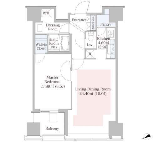 セントラルパークタワー・ラ・トゥール新宿 19階 1LDK 330,000円の写真1-slider