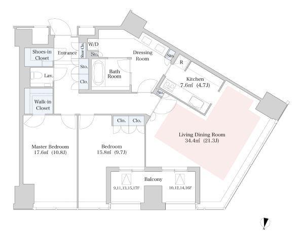 セントラルパークタワー・ラ・トゥール新宿 12階 2LDK 575,000円の写真1-slider