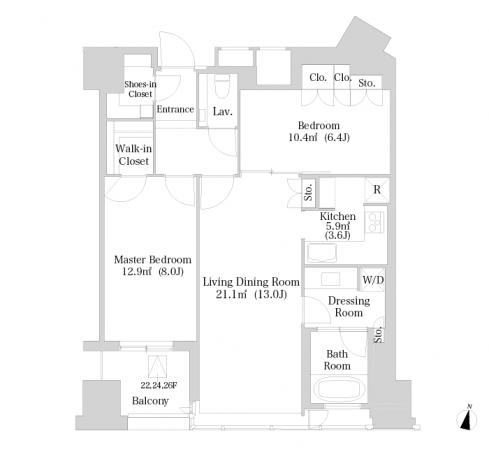 セントラルパークタワー・ラ・トゥール新宿 25階 2LDK 445,000円の写真1-slider