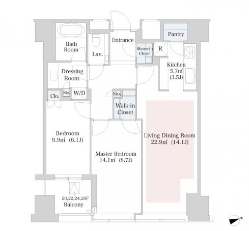 セントラルパークタワー・ラ・トゥール新宿 20階 2LDK 420,010円〜445,990円の写真1-slider