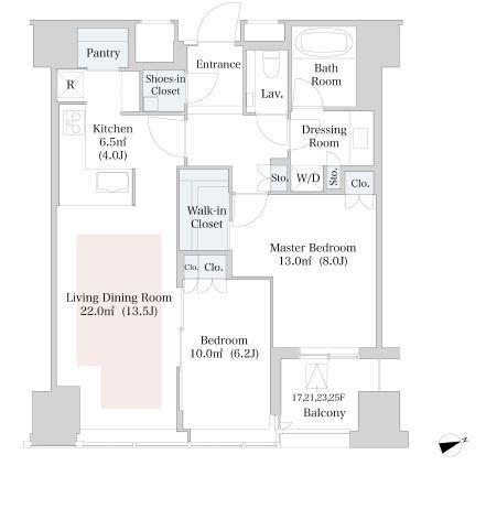 セントラルパークタワー・ラ・トゥール新宿 20階 2LDK 417,100円〜442,900円の写真1-slider