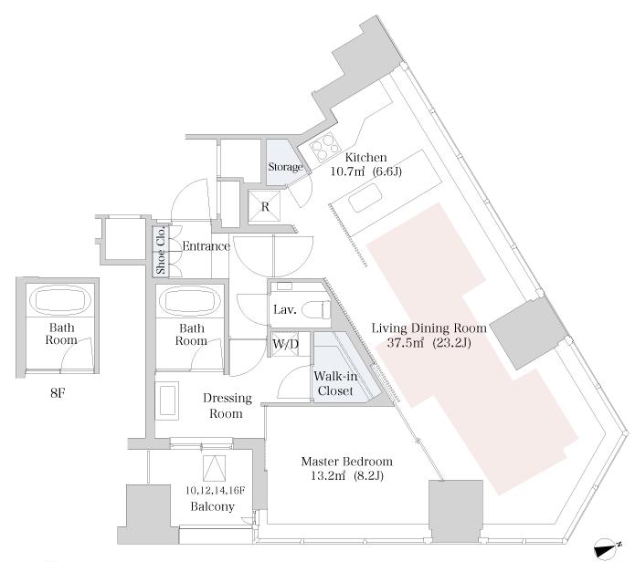 セントラルパークタワー・ラ・トゥール新宿 13階 1LDK 458,000円の写真1-slider
