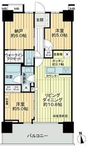 浅草タワー 21階 2SLDK 230,000円の写真1-slider