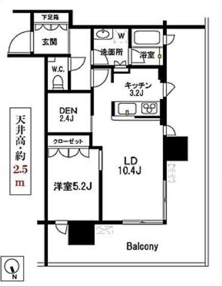 パークコート浜離宮ザタワー 9階 1LDK 310,000円の写真1-slider