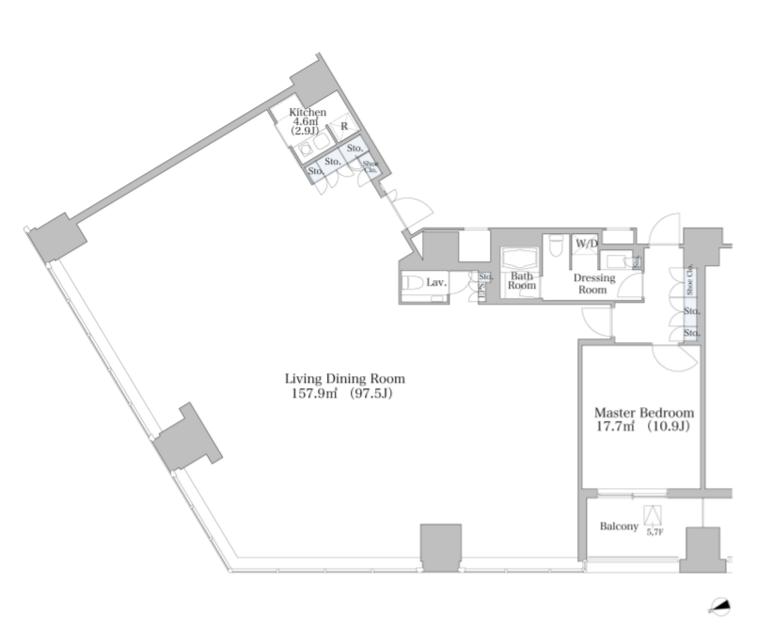 セントラルパークタワー・ラ・トゥール新宿 6階 1LDK 1,462,000円の写真1-slider