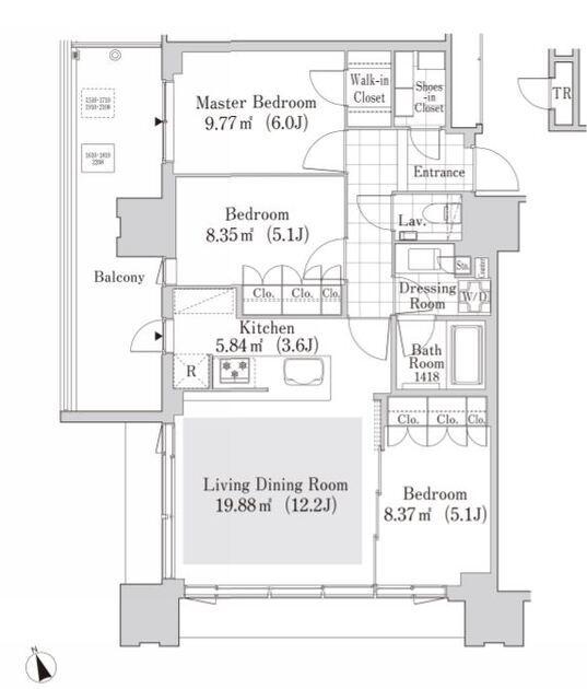 大崎ガーデンレジデンス 20階 3LDK 340,000円の写真1-slider