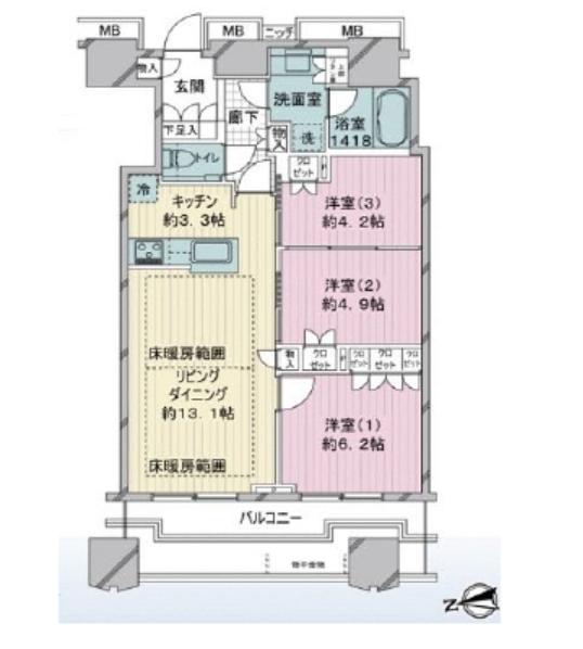 富久クロスコンフォートタワー 42階 3LDK 430,000円の写真1-slider