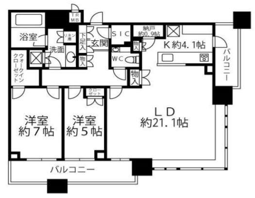 ブリリアタワーズ目黒 S-32階 2LDK 669,300円〜710,700円の写真1-slider