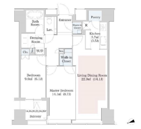 セントラルパークタワー・ラ・トゥール新宿 25階 2LDK 425,000円の写真1-slider