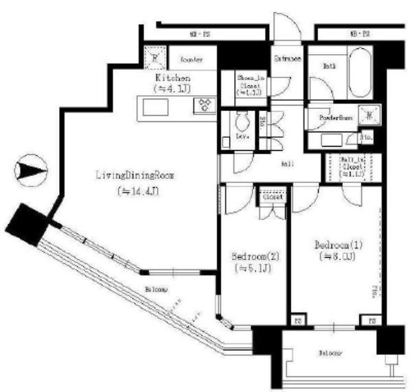グランドメゾン白金の杜 ザ・タワー 14階 2LDK 430,000円の写真1-slider